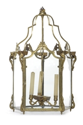 A FRENCH ORMOLU HALL LANTERN,
