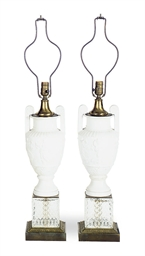 A PAIR OF BISQUE PORCELAIN REL