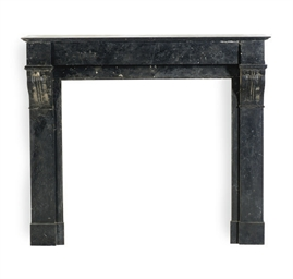 A FRENCH SLATE FIREPLACE SURRO