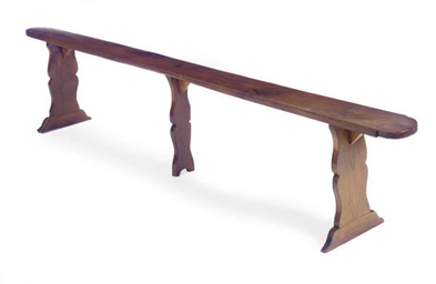AN OAK LONG BENCH,