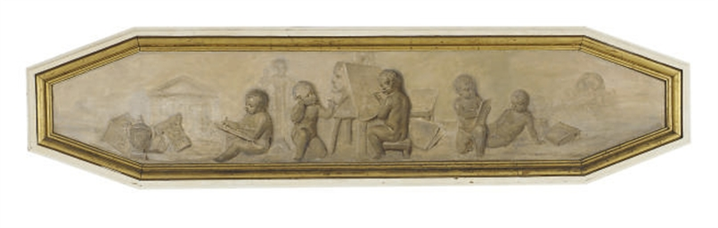 A FRENCH FRAMED GRISAILLE PANE