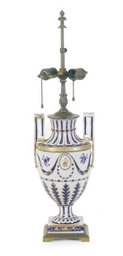 A BLUE, WHITE AND GILT-DECORAT