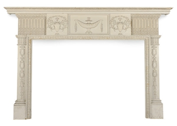 A CREAM-PAINTED PINE FIREPLACE