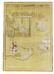 TWO FRAMED JAPANESE SILK PANEL
