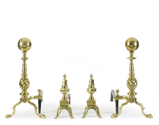 TWO PAIRS OF BRASS ANDIRONS,