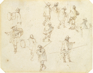 Studies of drummers, peasants