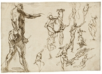 A standing man in profile holding a spear, with smaller, rapidly studied nude figures to the right