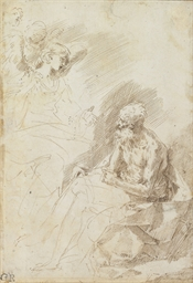 Saint Jerome attended by angel