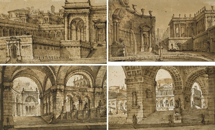 Four studies for stage designs