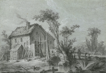 A farmhouse and fishermen by a