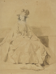 An elegant young lady seated w