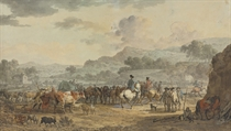 Cavalry in a valley rounding up a group of peasants and their livestock