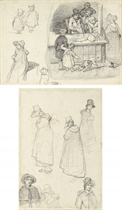 The sleeping fishmonger, subsidiary studies for the same subject (recto); Five studies of women (verso)