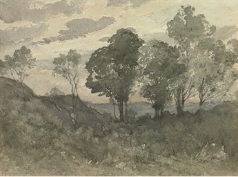 A wooded landscape in evening