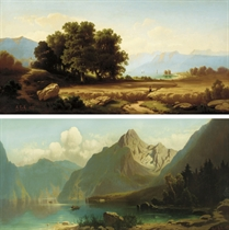 Harvesters; and Fishing on an Alpine lake