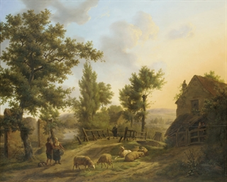 Figures in a rural landscape
