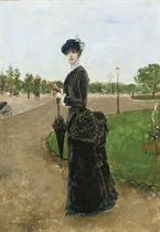 Femme élégante a l'entrée du Bois de Boulogne, 1880