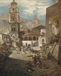 A busy market in Southern Ital