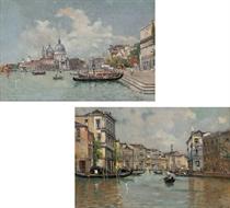 Gondolas moored on the Molo, Santa Maria della Salute beyond; and The Grand Canal, Venice