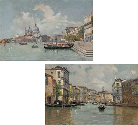 Gondolas moored on the Molo, S