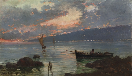 Sailing boats at twilight in J