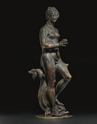 A BRONZE GROUP OF VENUS AND A