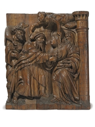 A MONUMENTAL CARVED PINE RELIE
