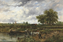 An extensive landscape with a barge approaching a lock, with cattle and a windmill beyond