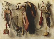 A trompe l'oeil of Hawking Equipment, including a glove, a net, and falconry hoods, hanging on a wall