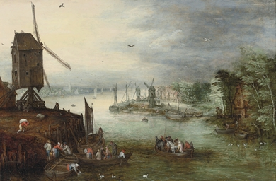 A river landscape with a ferry