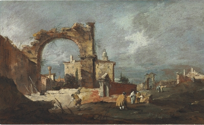 A capriccio with a ruined arch