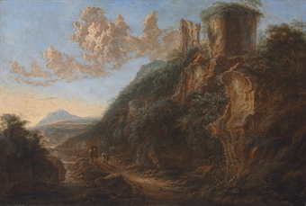 An Italianate landscape with travelers on a path by a ruin
