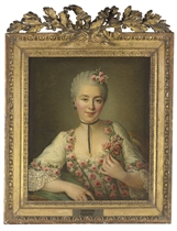Portrait of a Lady said to be Mlle. Dore, half-length, in a white dress with pink roses