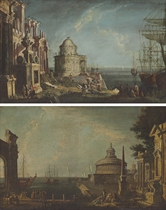 A capriccio with a temple and elegant figures by a harbor; and A capriccio with the Mausoleum of Hadrian and an obelisk with figures on a quay