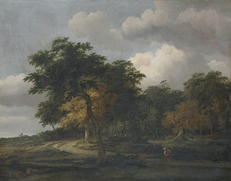A wooded landscape with a dist