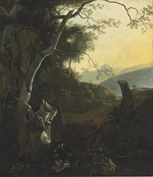 Travelers in a wooded landscap