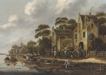 The bank of a river, with figures in rowboats and travelers outside an inn, a church beyond