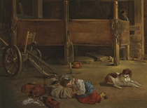A young girl asleep in a stable