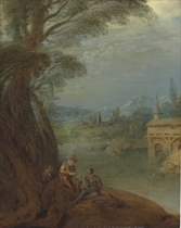 Elegant figures conversing by a riverbank
