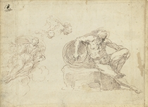 A male nude, seated, leaning back on an urn, with subsidiary studies of a woman on a cloud, and studies of a woman's and a child's head; and A seated man with a dog and a subsidiary study of a male head drawn on the back of a letter, by the same hand