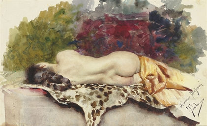 A reclining female nude seen f