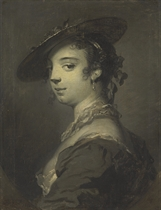 Portrait of a young lady, bust-length