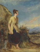 A young woman resting by a well