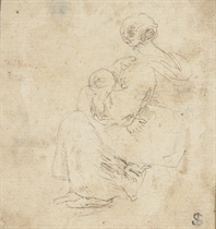 A group of drawings, mostly of figures, including one of a woman seated, holding an infant