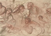 Studies for an Adoration of the Shepherds (recto), Studies of the Virgin, Joseph and other figures (verso)