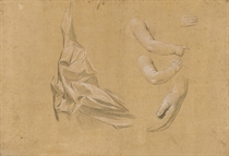 A drapery study with subsidiary studies of an infant's arm and two studies of hands