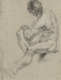 Study of a male nude, seated,