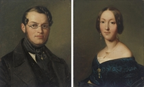 Portrait of a gentleman, bust-length, in a black coat and glasses; and Portrait of a lady, bust-length, in a black dress and gold jewelry