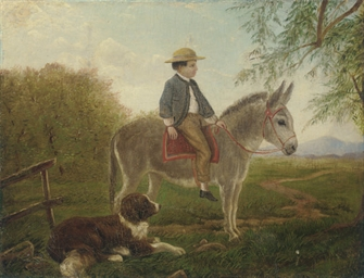 A boy riding a donkey in a lan
