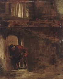 A man entering a house